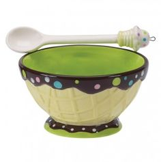 Ice Cream Social Topping Bowl and Spoon Set