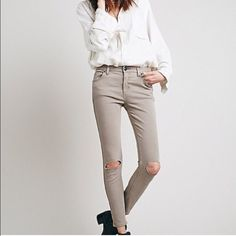 Free People Destroyed Skinny Jeans Tan Awesome skinny jeans, great for all casual outfits. These are brand new with tags!  closet rules  no trades  no PayPal  no harassment  offers welcome  bundles welcome  Free People Jeans Skinny