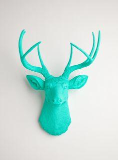 Faux Deer Head - The Penelope - Turquoise Resin Deer Head- Stag Resin Turquoise Faux Taxidermy- Chic  Trendy. $129,99, via Etsy.