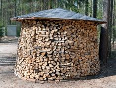A neatly stacked woodpile with roof