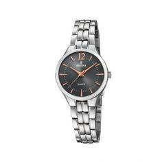 Γυναικείο ρολόι FESTINA F20216/2 απλό με μαύρο καντράν, ροζ επίχρυσους δείκτες και ατσάλινο μπρασελέ | Ρολόγια Festina ΤΣΑΛΔΑΡΗΣ στο Χαλάνδρι #Festina #μαυρο #μπρασελε #ρολοι Omega Watch, Watches, Accessories, Clocks, Clock, Ornament