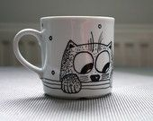 CAT CUP Handpainted porcelain cup - Hand Illustrated animal art coffee mug - Cats tea cup - Dishwasher Safe
