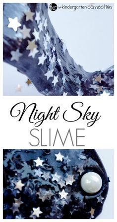 Starry night sky slime is a the perfect sensory activity for a space unit, or just for fun! Easy to make yourself at home or school for fun sensory play. (Diy Slime At Home) Make Slime At Home, How To Make Slime, Making Slime, Diy Tumblr, Slime Craft, Diy Slime, Borax Slime, Starry Night Sky, Night Skies