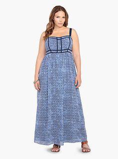 Torrid Blue Geo Print Chiffon Maxi Dress