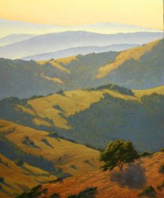 "Marin Morning Light, 24"" x 20"", Marin County, California, Northern California Landscape Painting, Marin County Landscape Painting, original oil painting, California hills, rolling hills, country hills, scenic country, morning hike, Terry Sauve, terrysauve.com"