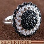 White And Black Cubic Zirconia And Sterling Silver Ring
