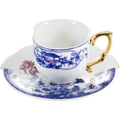 Seletti Hybrid Eufemia Coffee Cup & Saucer ($43) ❤ liked on Polyvore featuring home, kitchen & dining, drinkware, multi, handmade mugs, handmade coffee mugs, coffee cups and saucers, coffee mugs and coffee saucer