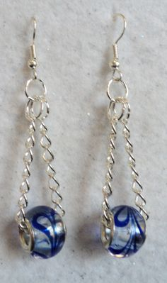 Dangle Earrings European Lampwork Glass Beads Blue Swirl Teen Earrings Teen Jewelry Blue and Silver (7.25 USD) by uniquelyyours2010