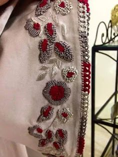 Moroccan Randa and Moroccan Tailoring: Masterpieces of . Zardosi Embroidery, Hand Work Embroidery, Couture Embroidery, Embroidery Motifs, Simple Embroidery, Embroidery Suits, Hand Embroidery Designs, Beaded Embroidery, Hand Work Design