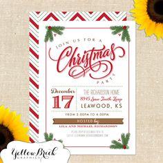 Mistletoe Christmas Party Invitation DIY by YellowBrickGraphics, $15.00