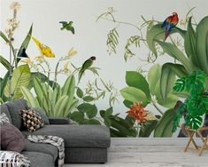 Your place to buy and sell all things handmade Hand Painted Tropical Plants Wallpaper Wall Mural, Green Tropical Palm Trees Vivid Birds Wall Mural, Rainforest Tropical Plants Wall Mural Wallpaper Wall, Custom Wallpaper, Photo Wallpaper, Leaves Wallpaper, Mural Art, Wall Murals, Cleaning Walls, Smooth Walls, Traditional Wallpaper