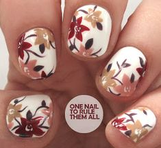 Make an original manicure for Valentine's Day - My Nails Flower Nail Designs, Flower Nail Art, Toe Nail Designs, Fall Toe Nails, Autumn Nails, Cute Nails, Pretty Nails, American Nails, Nail Art Blog