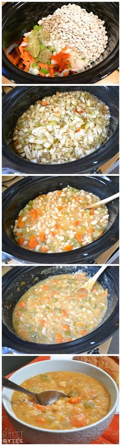 Slow Cooker White Bean Soup Recipe ~ This soup is thick, warm, comforting, and flavorfu