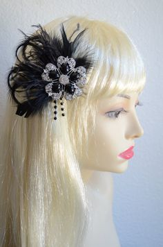 ONE Of A KIND,Black Fascinator,Feather flapper,1920s and 1930s headpiece,fascinator,Pearl Rhinestone headpiece
