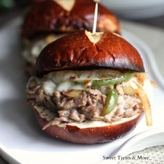 Spicy Jalapeno Philly Cheese Steak Sliders- ooh this Jalepeno Cream Cheese sound GOOD!!