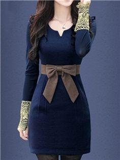 Ericdress Bowknot V Neck Sleeveless Dress