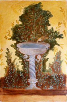 Roman Garden Fresco Mural Fountain of Oplontis Ancient Pompeii, Pompeii And Herculaneum, Ancient Art, Fresco, Roman Garden, Art Romain, Bird Fountain, Pompeii Italy, Art Ancien