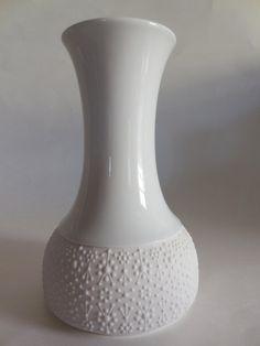 Thomas Rosenthal Germany Op Art Matte and Glazed White Vase from MidCenturyFLA on Etsy