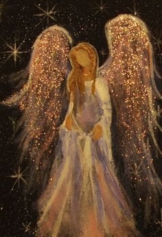 Acrylic painting by Cape Cod artist Breten Bryden, specializing in coastal, animal and angel art, also Antique Map colorationReally liking these glitter angel paintingsAngel with sparkly gold wings.The Angelic Realm.The Angel of Henderson (Christy Ly I Believe In Angels, Angel Pictures, Angel Images, Angels Among Us, Guardian Angels, Christmas Art, Christmas Angels, Painting Inspiration, Painting & Drawing