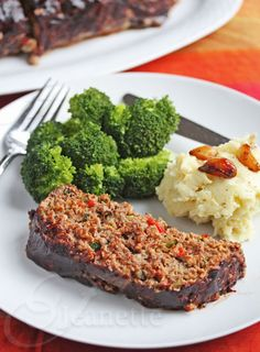 Balsamic Glazed Roasted Vegetable Meatloaf Recipe (gluten-free) - Jeanette's Healthy Living #healthy #recipe #dinner
