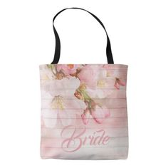Bride pink romantic cherry blossoms tote bag - accessories accessory gift idea stylish unique custom