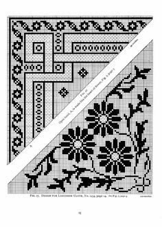 The Priscilla filet crochet book; a collection of beautiful designs in filet crochet, equally adapted to cross-stitch, beads and canvas, with working directions Cross Stitch Borders, Cross Stitch Designs, Cross Stitching, Cross Stitch Embroidery, Cross Stitch Patterns, Filet Crochet Charts, Crochet Borders, Knitting Charts, Crochet Stitches