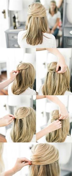 Super sexy hairstyles Lace Half Up for a sexy office look Simple frisure Easy Updos For Medium Hair, Medium Long Hair, Medium Hair Styles, Curly Hair Styles, Going Out Hairstyles, Hairstyles With Bangs, Easy Hairstyles, Wedding Hairstyles, Hairstyle Ideas