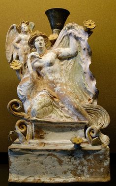 Leda and the Swan (Symbol of Zeus) -  Lekythos Terracotta, Attica period, ancient Greek religion, circa 4th century BC, at the Louvre Museum