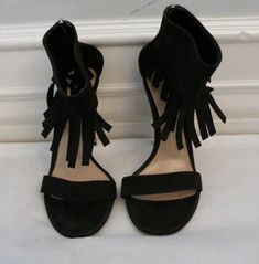 4c7ee31c90cc GIANVITO ROSSI black suede fringe heel size 38 us 8  fashion  clothing   shoes  accessories  womensshoes  heels (ebay link)