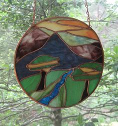 Stained Glass Round Panel Suncatcher Dawn by hobbithousecreations