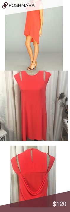 """🆕🆕🆕BCBG RED STACEY HIGH LOW CUTOUT DRESS XXS BCBG MAX AZRIA RED POPPY """"STACEY"""" DRESS HAS CUTOUT ARM DETAIL AND DRAPE BACK WHICH COMES TOGETHER WITH A BUTTON CLOSURE AT NECK. SIZE XXS. THIS DRESS WAS WORN ONCE, light weight and flowy 😍 100% Polyester. BCBGMaxAzria Dresses"""