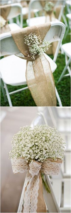 Rustic baby's breath wedding chair decor ideas #wedding #weddingideas #weddinginspiration #countryweddings