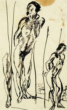 """Albert Weisgerber: """"Sebastian"""", o. J., Bleistift auf gelblichem Papier, 33 x 21 cm. Foto: Albert Weisgerber Stiftung"""