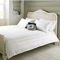 Elegant Living Duvet Set White Damask Stripe - Double | Duvet Covers | ASDA direct