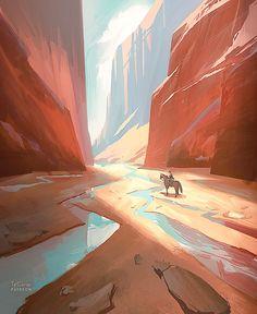 Tyler Carter on Twit Landscape Concept, Fantasy Landscape, Landscape Art, Landscape Paintings, Environment Painting, Environment Concept, Environment Design, Desert Environment, Arte Digital Fantasy