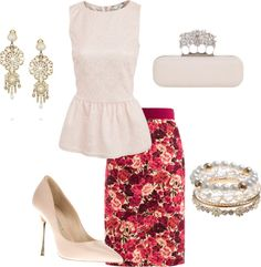 """Peplum and Floral"" by djgauh ❤ liked on Polyvore"