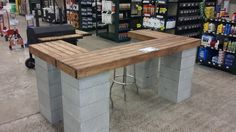 Cinder block and lumber bar.  www.mccoys.com