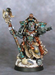 Space Wolves Librarian, I guess that makes it a Wolf Priest Figurine Warhammer, Warhammer Figures, Warhammer Models, Warhammer 40k Miniatures, Warhammer Fantasy, Warhammer 40000, Warhammer 40k Space Wolves, Minis, Mini Paintings