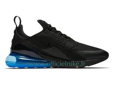 The Nike Air Max 270 Photo Blue (Style Code: features a full Black mesh upper highlighted with a Photo Blue Air Max 270 heel unit. Air Max Sneakers, Nike Air Shoes, Running Shoes Nike, All Black Sneakers, Sneakers Nike, Shoes Jordans, Nike Air Max Tn, Mens Nike Shox, Mens Nike Air