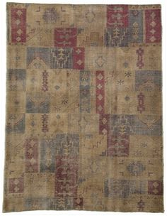 "Size: 8' 11"" x 11' 10"" Construction: Hand Knotted. Material: Wool. Colors: Multi-Colors. Collection: Vintage Worn. Origin: India."
