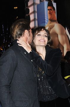 Pin for Later: Look Back at Brad and Angelina's Sexiest PDA Moments  The couple shared a flirty moment at the Paris premiere of Brad's animated film Megamind in November 2010.
