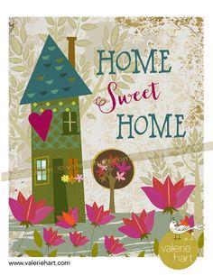 Home Sweet Home print with my house illustration  |    ValerieHart.com   #etsyprint  #homesweethome  Nice housewarming gift.