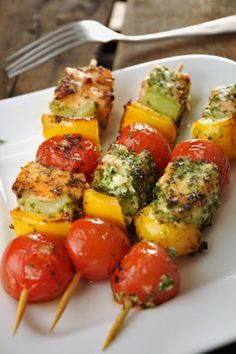 Grilled Pesto Salmon Skewers