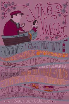 Vino navegado Cocktail Drinks, Cocktail Recipes, Alcoholic Drinks, Beverages, Chilean Recipes, Chilean Food, Cocktail Illustration, Vintage Packaging, Wine Design