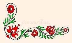 Hungarian Embroidery Design Photo about Traditional Hungarian floral motif with stylized leaves and petals. Illustration of decoration, decor, fashioned - 55331255 - Hungarian Embroidery, Folk Embroidery, Learn Embroidery, Chain Stitch Embroidery, Embroidery Stitches, Embroidery Patterns, Images Lindas, Bordado Popular, Stitch Head