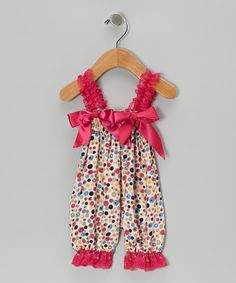 Take a look at this Hot Pink Rainbow Flowers Bubble Romper - Infant by Zuzu Petals on #zulily today!