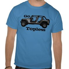 Go Topless guys silver Jeep four door tee