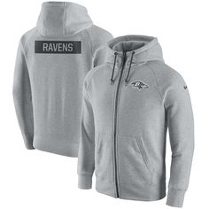3baa4174 Men's Baltimore Ravens Nike Ash Gridiron Gray 2.0 Full-Zip Hoodie, Size  Large Sweatshirts