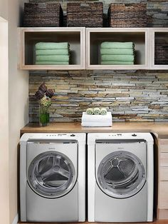 Install a countertop so you have a place to fold clothes as they come out of the dryer. Ideally, it should be right above the dryer to minimize steps. If that's not an option, bring in a table or cart that's tall enough for you to work on while standing up. #laundryroom #stonebacksplash