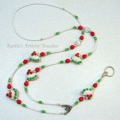 Christmas Holiday White Hearts Lanyard ID Badge Holder Christmas Design, Christmas Holidays, Beaded Jewelry, Beaded Necklace, Beaded Lanyards, Green Dot, Id Badge Holders, Czech Glass Beads, Red Flowers
